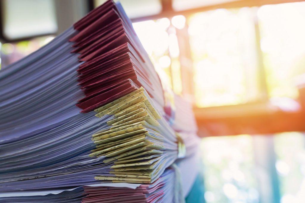 zbiór dokumentów księgowych do przechowania
